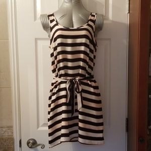Divided Dresses - Striped, Black and Beige Mini Dress (NWT)